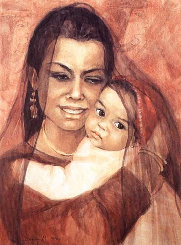 An Egyptian Woman with a Child Danuta Muszynska Zamorska