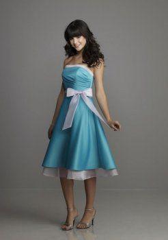 strapless blauwe bruidsmeisje jurk