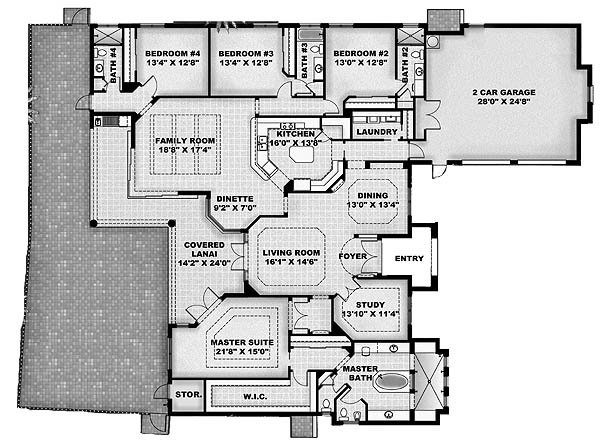 4br 4 bath study large family room open to kitchen with pantry huge master european house planshouse - Large House Plans
