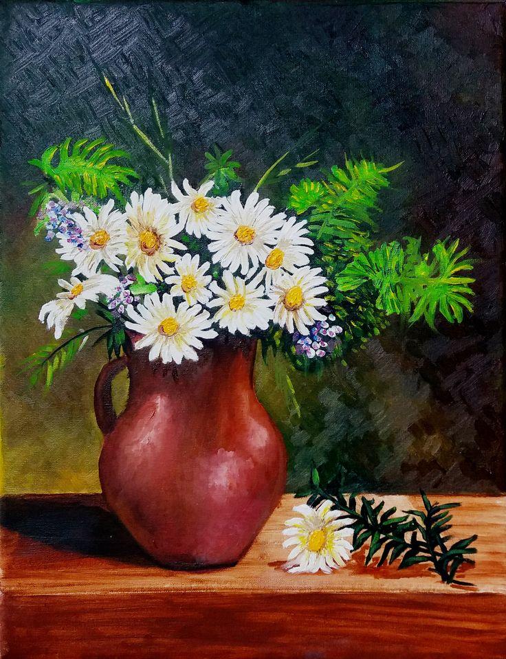 Regina Oyarzún bodegón margaritas óleo sobre tela de 35 x 45 cms. (pinyura ORIGINAL inspirada de fotografía)