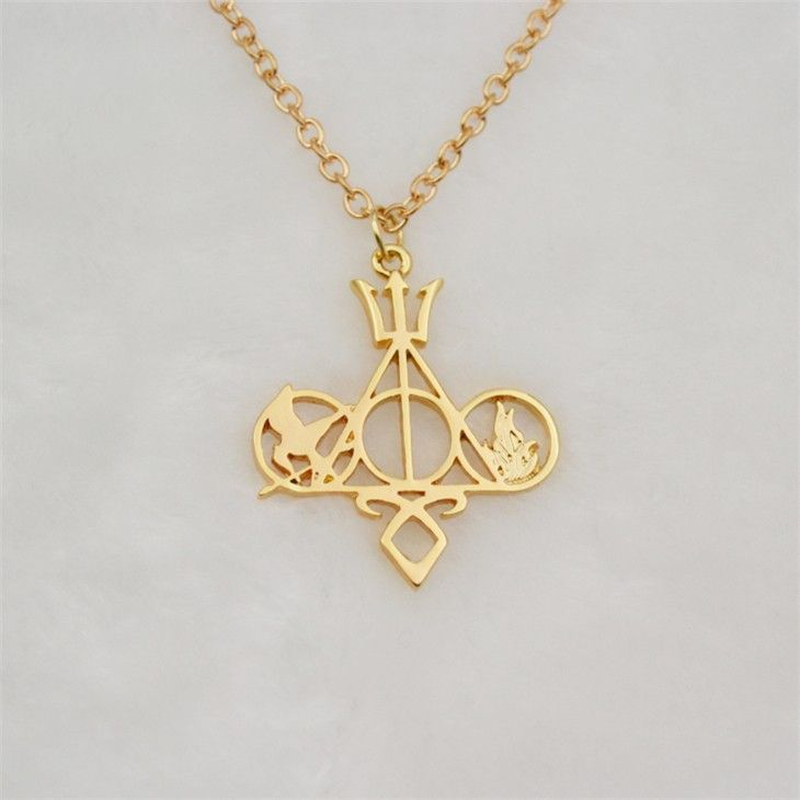 Fandoms Unite Necklace - Harry Potter, The Mortal Instruments City of Bones, The Hunger Games, Divergent and Percy Jackson