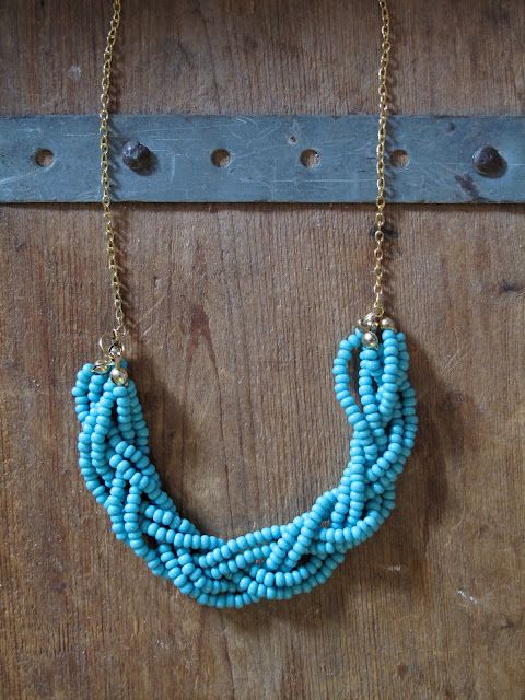 diy: Braided Bead Necklace: Braids Beads, Statement Necklaces, Diy Necklaces, Diy'S, Beads Necklaces, Seeds Beads, Diy Jewelry, Bead Necklaces, Braids Necklaces