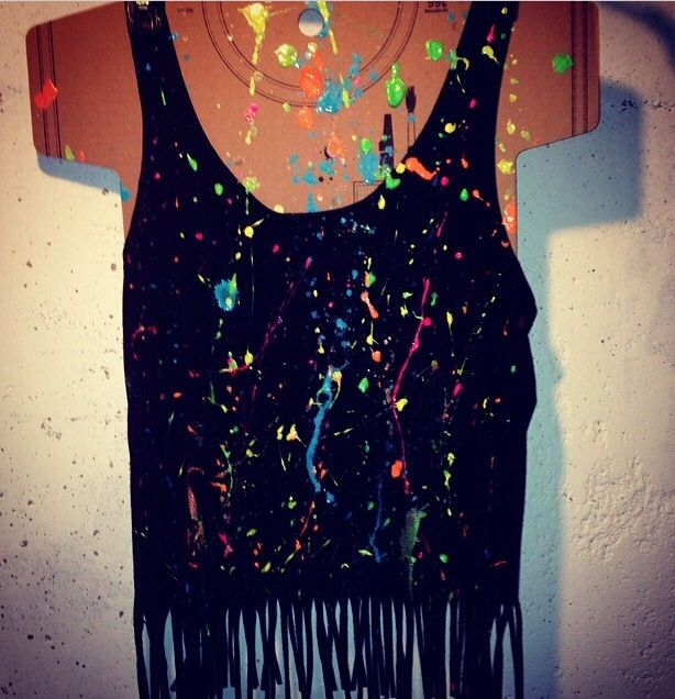 DIY splatter paint tank top I made for a rave