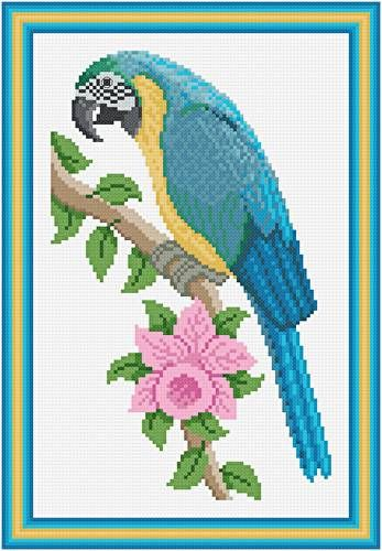 Blue and Gold Macaw - Bird cross stitch pattern designed by Susan Saltzgiver. Category: Scenery.