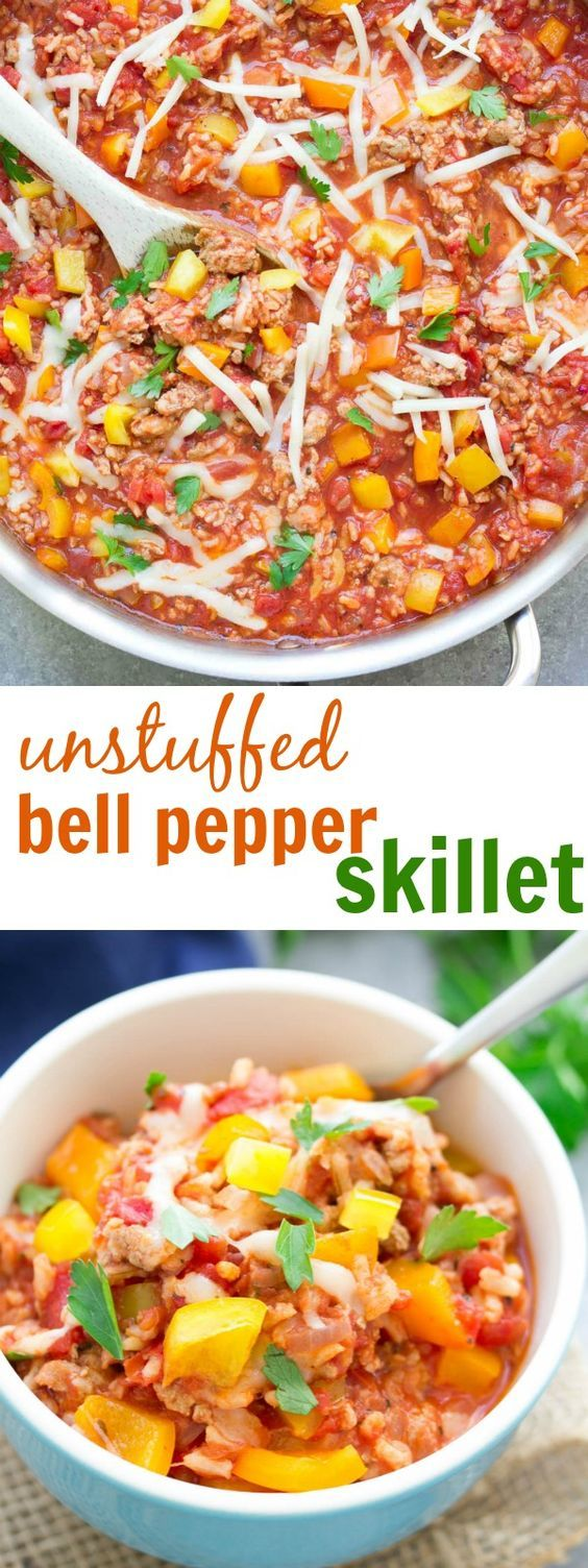This Unstuffed Bell Pepper Skillet is a healthy one pot dinner made with ground turkey and brown rice. This recipe is my kids' favorite! kristineskitchenblog.com