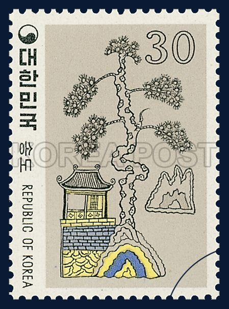 Postage Stamps of Folk Painting, Series(Ⅲ), pine, Traditional Art, rainbow, 1980 07 10, 민화 시리즈(제3집), 1980년 07월 10일, 1181, 송도,  Postage 우표