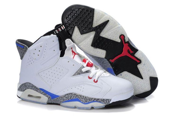 Herresko Nike Air Jordan 6 Blå Hvid
