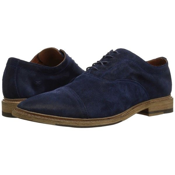 Frye Paul Bal Oxford (Navy Washed Waxed Suede) Men's Shoes ($278) ❤ liked on Polyvore featuring men's fashion, men's shoes, mens oxford shoes, mens navy slip on shoes, mens slip on shoes, mens slipon shoes and mens shoes