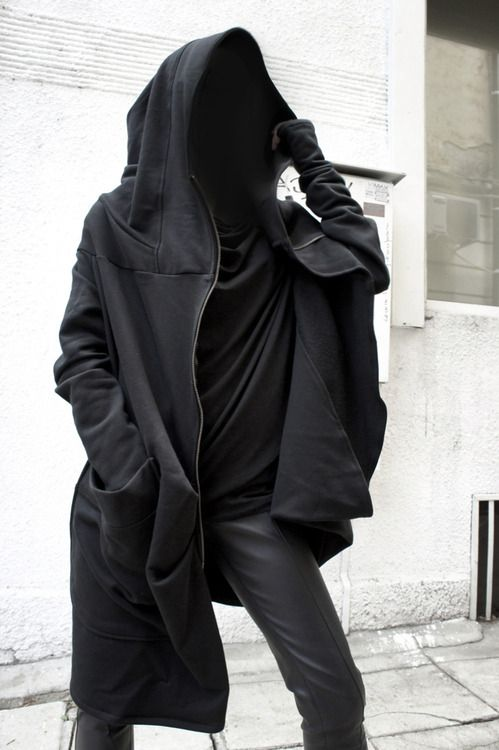 Asymmetryc Extravagant Black Hoodded Coat / Qilted Cottom A07015