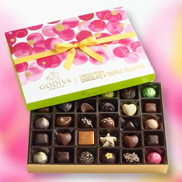 Godiva 32pc Ballotin: Send Mom her favorite chocolate treat! Godiva's lovely 32PC floral gift box features a signature assortment of rich and velvety milk, dark, and white GODIVA chocolates. Kosher OU-D.