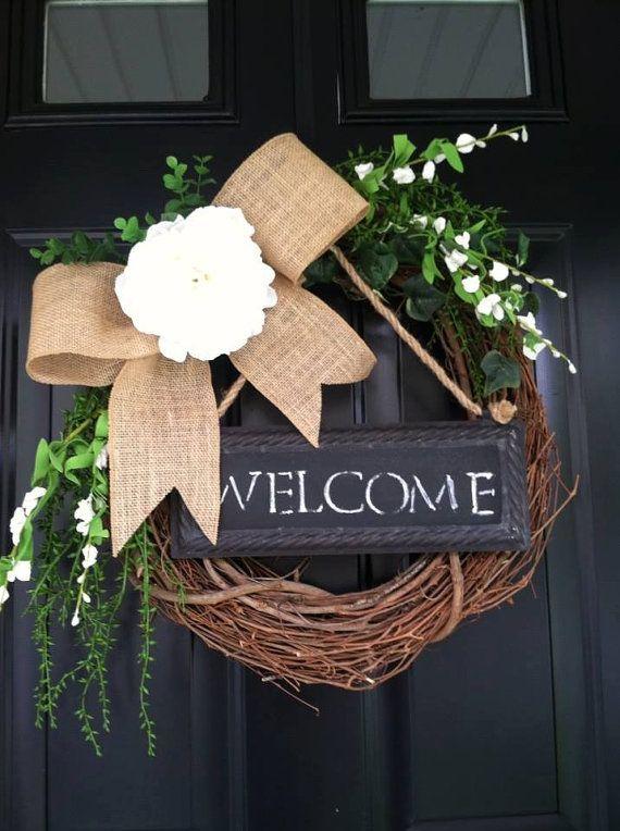 Summer Wreath - Welcome Wreath - Chalkboard Wreath - Burlap Wreath - Peony Wreath - Gift - Housewares