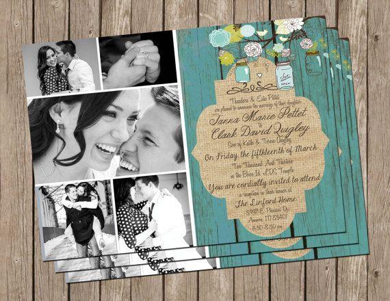 Rustic Wedding Invitation, turquoise, wood, burlap , Digital file, Printable on Etsy, $15.00