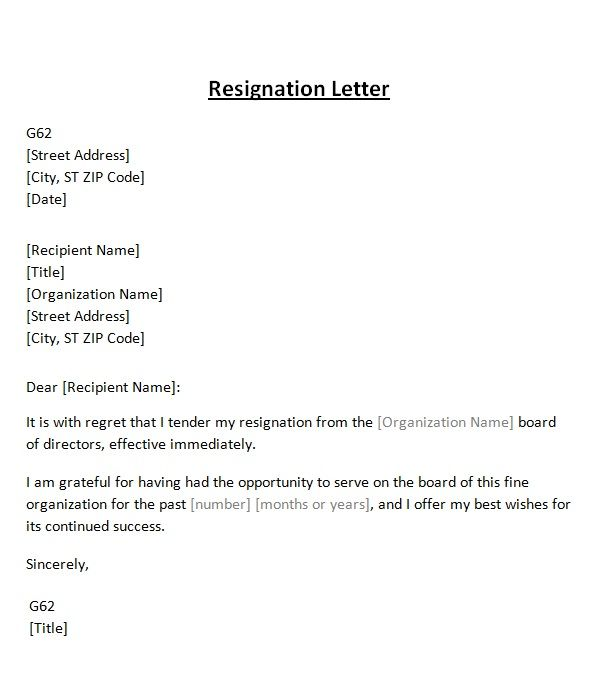 Resignation Letter From A Board