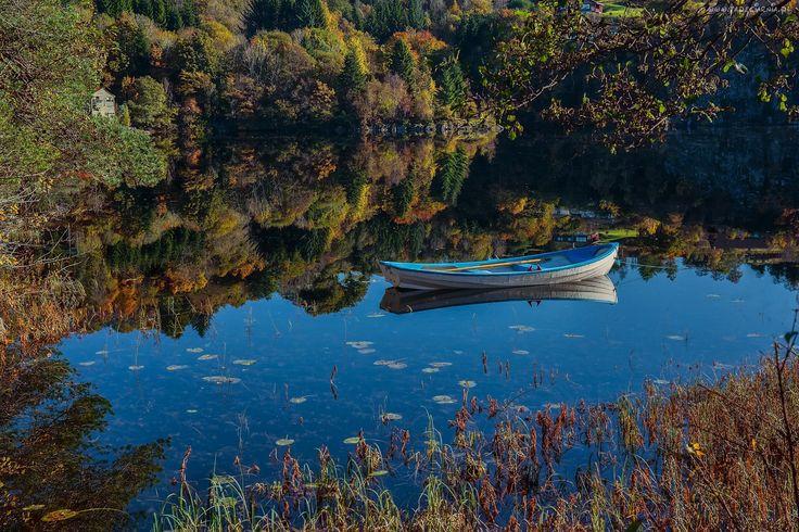 Norwegia, Jezioro, Łódka, Las, Odbicie