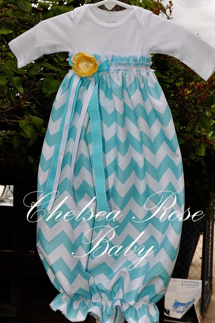 baby girl dress  baby girl bodysuit dress  aqua chevron dress  newborn sleep gown  layette  baby