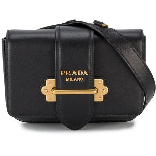 Prada Cahier belt bag ($1,645) ❤ liked on Polyvore featuring black, real leather purses, antique leather purse, leather bum bag, fanny pack purse and prada handbags