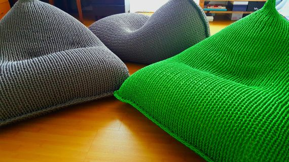 Knit grey green bean bag / Bean bag chair / Floor by GieMarGa