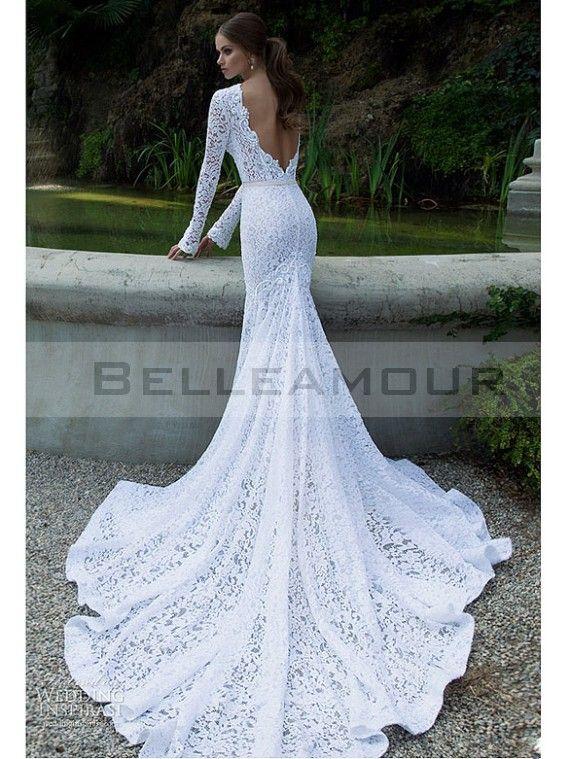 THE MAKEUP Robe de mariée De Luxe Dentelle Longue Blanche Manche Sirène  Taîne Longue