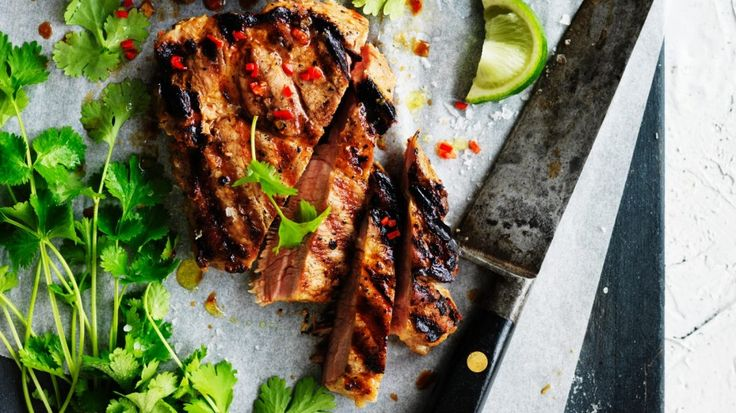 Thai coconut, lime and chilli pork steaks