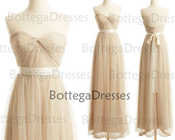 Cream Formal Gown Tulle Prom Dresses Vintage by BottegaDresses