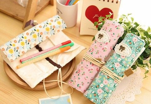 Floral pattern with a Bow rolling Pencil case  Choose from three colors! PINK WHITE GREEN  Size:19.4*6.5cm