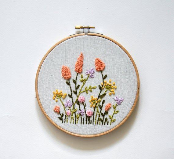 DIY Hand Stitched Wildflowers Beginner Hand Embroidery Kit Hoop Art Tutorial DIY Floral Hoop Art Kit Modern Wildflowers Kit