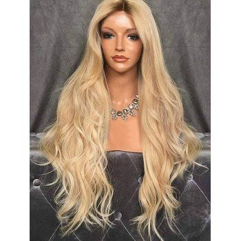 Free shipping 2018 Middle Part Long Wavy Capless Synthetic Wig GOLD under   23.43 in Synthetic Wigs online store. Best Short Purple Wig and Long Side  Part ... d30186b63