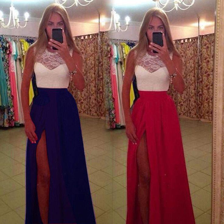 Zeagoo® Damen Spitze Boho Lang Maxi Abendkleid Partykleid Chiffon Kleid: Amazon.de: Bekleidung