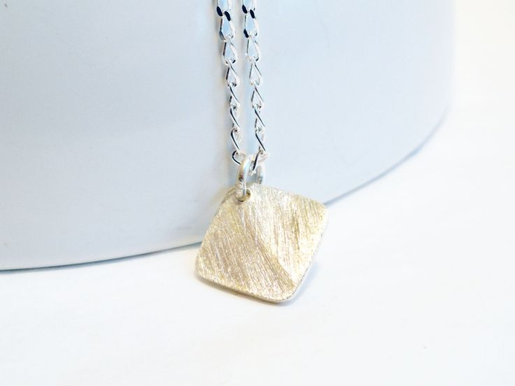 Sterling silver disc necklace - brushed disc - square disc - diamond pendant - silver pendant - brushed silver pendant - minimalist - simple by handmadeintoronto on Etsy
