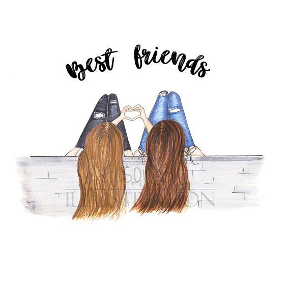 Best Friends Fashion Illustration Print Personalised With Name Gift For Sister Twin Girlfrien Friends Illustration Best Friend Drawings Drawings Of Friends