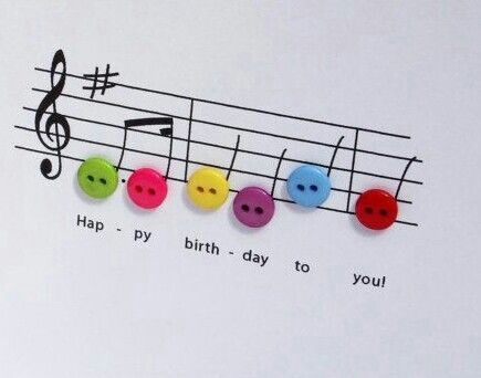 Happy birthday card using buttons