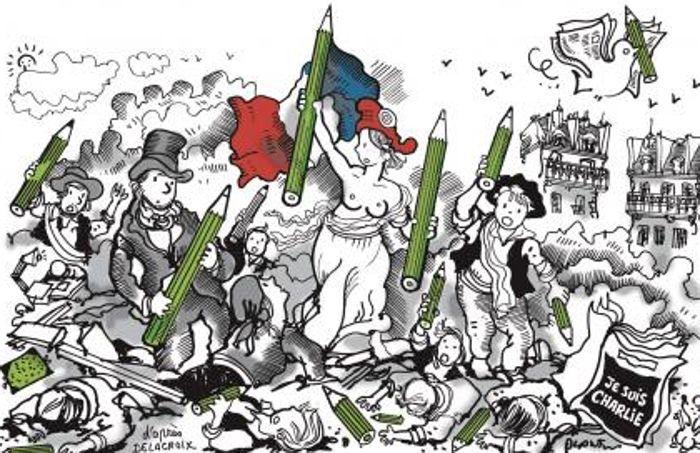 """Hommage à Charlie Hebdo. Attentat du 7 janv. 2015. """"On est tous Charlie. D'après """"La liberté guidant le peuple"""", de Delacroix. Dessinateur Plantu. lic 2X pour """"Les 20 dessins les plus émouvants en mémoire de Charlie Hebdo"""""""