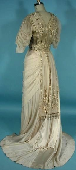c. 1912 Trained Edwardian Gown of Ecru Silk with Embroidery. Back