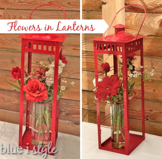 {entertaining with style} Arranging Flowers in Outdoor Lanterns