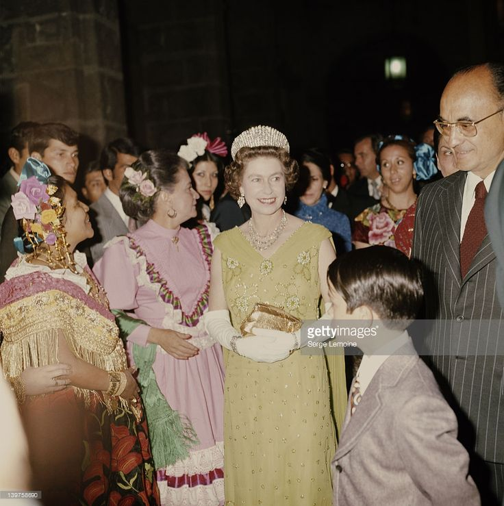 Queen Elizabeth II with Mexican President Luis Echeverria (right) during her visit to Mexico, 1975.