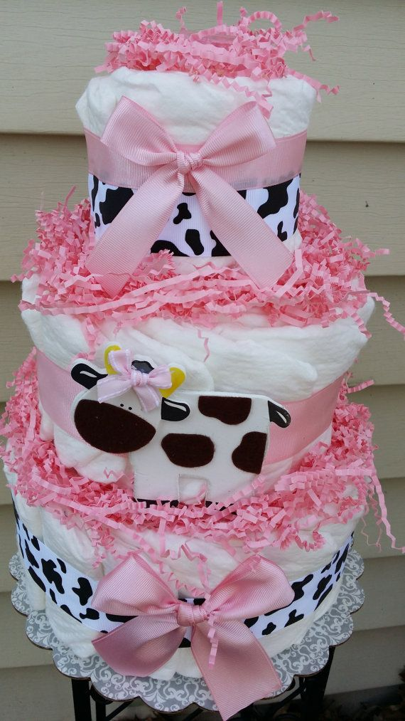Cow, 3 tier diaper cake $30