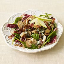 Weight Watcher's:   Warm Spinach Salad with Bacon, Chicken and Blue Cheese...5 points a serving, it's yummo!
