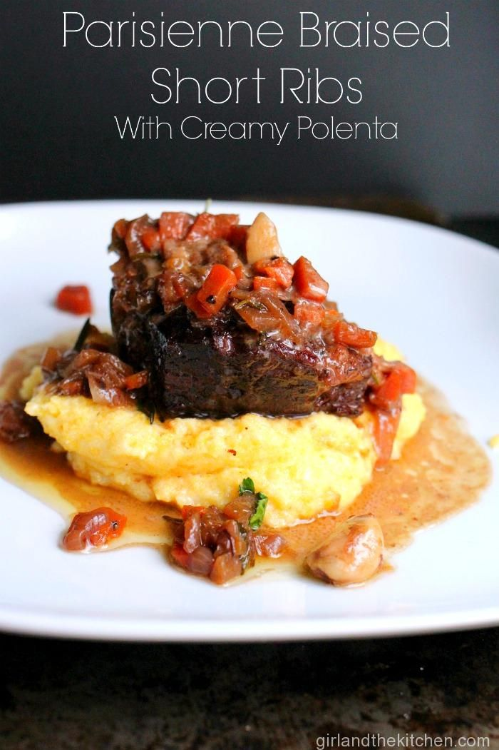Braised Short Ribs with Creamy Parmesan Polenta. Made with mashed potatoes. Will have to try the ribs with polenta next time.