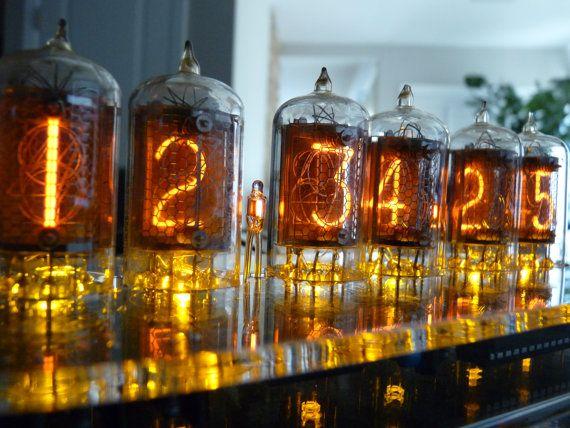 ZM1032 Nixie Tube Clock with Orange LED's and GPS receiver on Etsy, $349.00