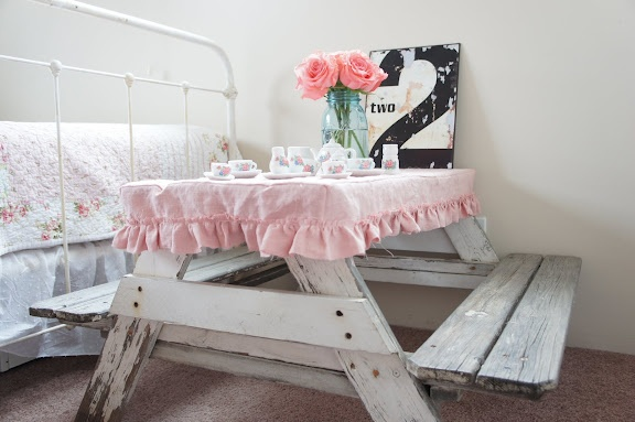 Ruffled picnic tablecloth for shabby chic girls room. how awesome would it be to have a picnic table in your room!