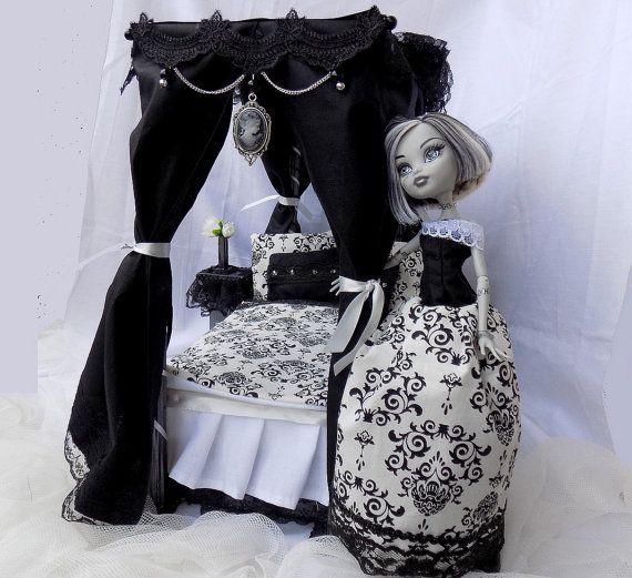 Blanco y negro dormitorio victoriano gótico - muebles de la muñeca MH pro, EAH, Barbie y otras muñecas