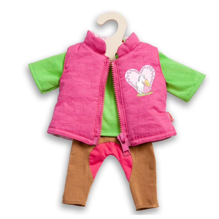 Afmeting: geschikt voor poppen van 28 - Poppen Paardrij Outfit, 3dlg. 28-35 cm