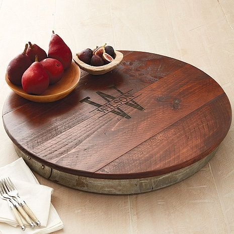 Personalized Raised Wine Barrel Lazy Susan with Name & Single Initial at Wine Enthusiast - $149.95