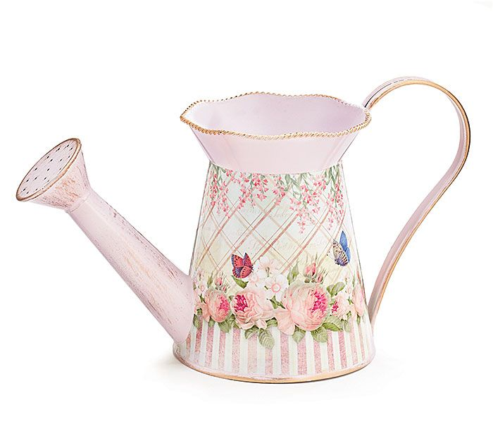 #burtonandburton Light pink watering can with butterfly and flower decal and gold brushing on trim and base.
