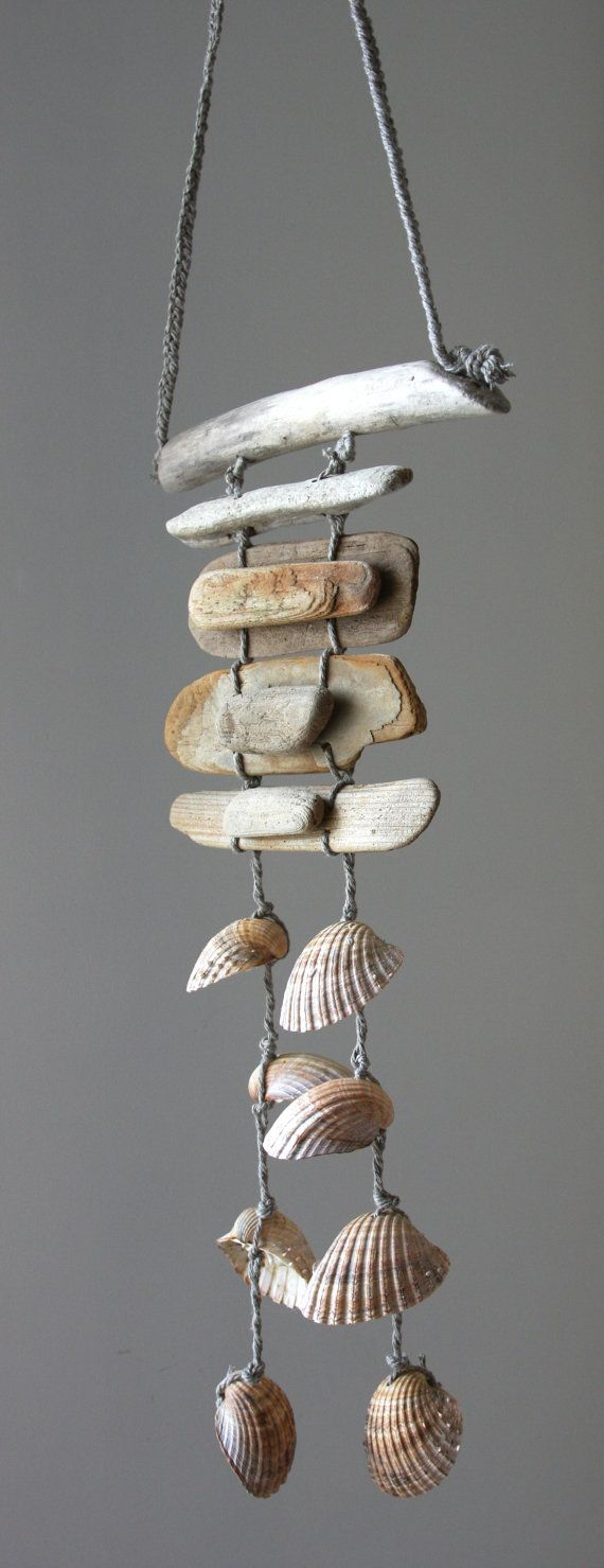 Driftwood Sea Shell Mobile Beach Wind Chime by SkyLineDesign777, $29.00