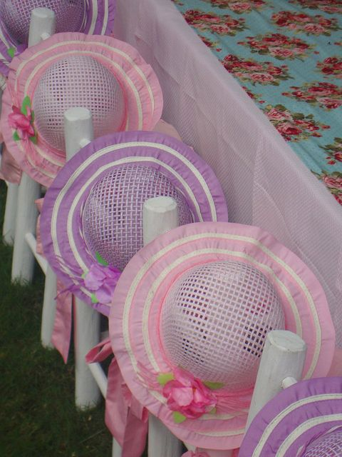Cute hats at the Tea Party table!  See more party ideas at CatchMyParty.com!  #girlbirthday