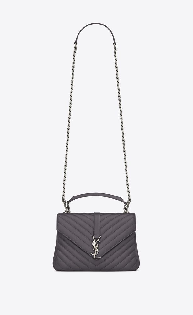 c0ce38950e SAINT LAURENT Monogram College Woman medium collège bag in dark anthracite  matelassé leather a_V4