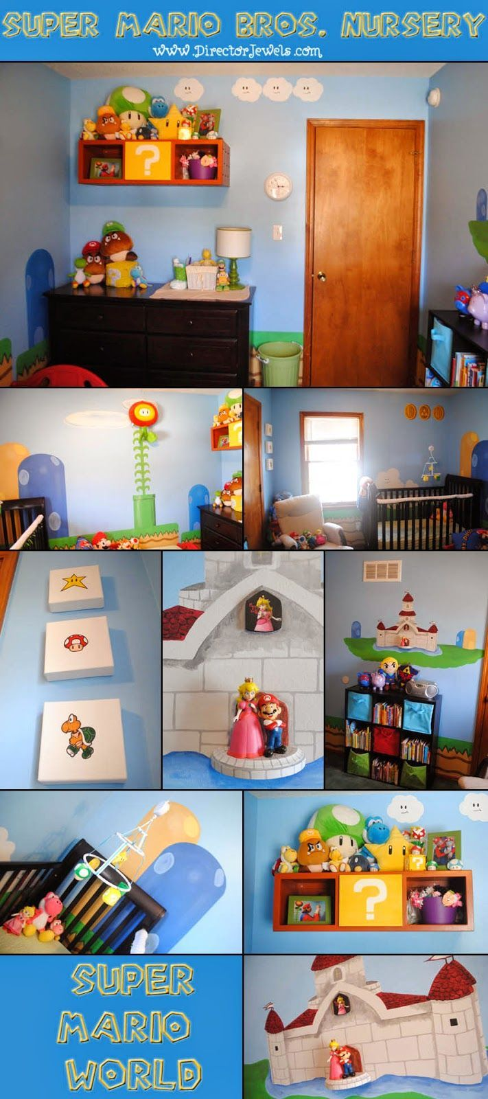 Mario Nursery Inspiration at directorjewels.com Super Mario Bros, Nintendo Theme DIY Decor and Ideas #Nintendo #SuperMarioBros