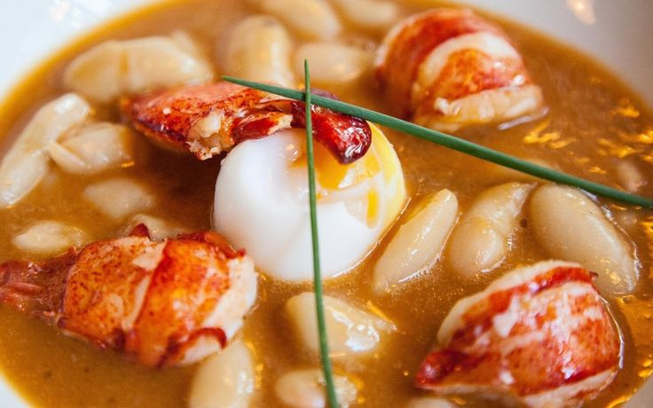 Lobster stew with beans and egg duck
