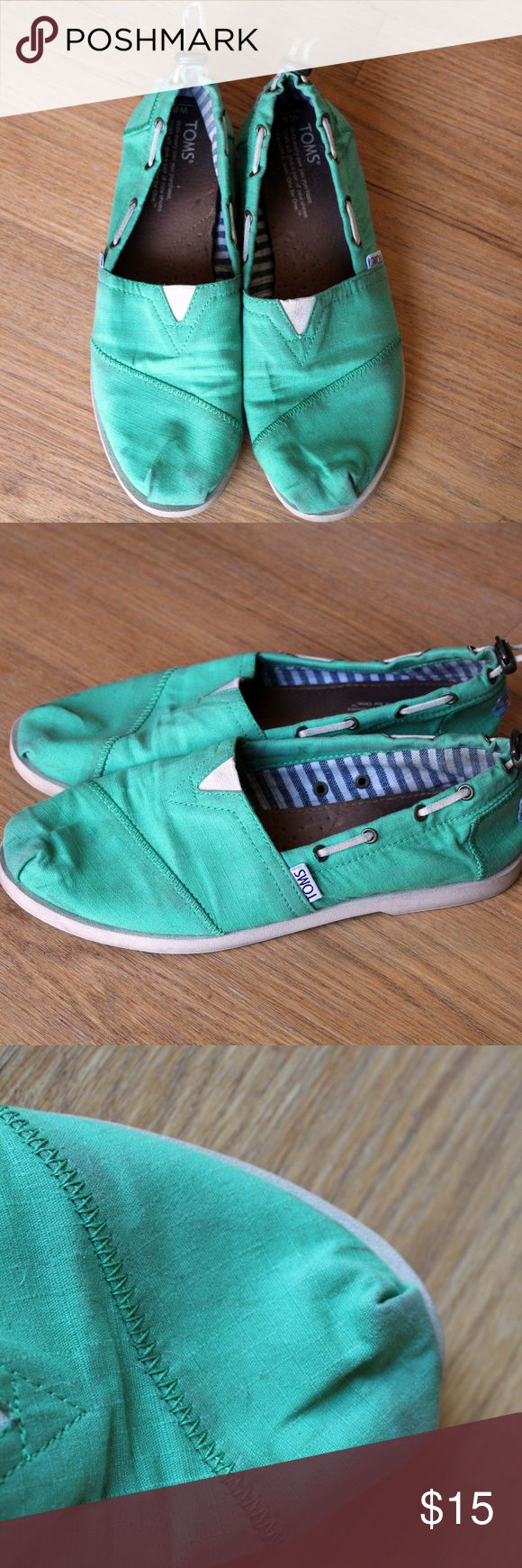 Green Tom's Green Tom's women's size 8. Great for St.Patrick's day!! have a little bit of wear on them shown in the 4th picture there is a little stain. There is still some life left in these fun shoes !! toms Shoes Flats & Loafers